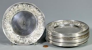 14 Kirk Stieff Repousse Sterling Bread Plates