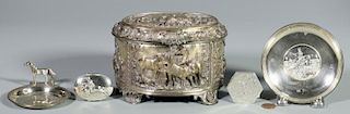 5 Sterling Horse Related Items inc. Jewel box