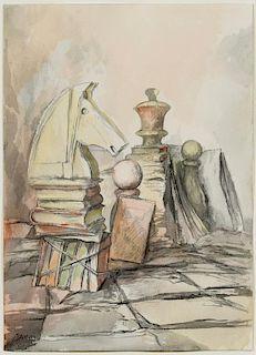 """Samuel Bak Watercolor, """"Transcribed"""""""
