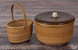 Darryl Arawjo, miniature Nantucket basket, signed, with a walnut bottom, 4'' h., 3'' w.