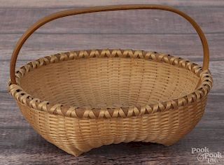 Martha Wetherbee, splint ash basket, initialed and dated '91, 4 1/4'' h.