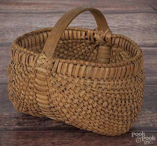 Miniature splint oak buttocks basket, 19th c., 3 1/2'' h.