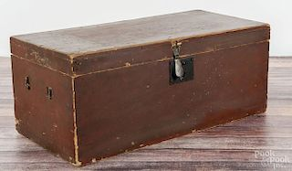 New England painted pine box, ca. 1840, retaining its original red and black grained surface