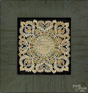 Mary Lou Sukey Harris, contemporary scherenschnitte fraktur, labeled on verso, 8'' x 8''.