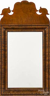 Contemporary Chippendale style tiger maple mirror