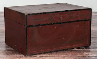 Painted pine document box, 19th c., 7 1/2'' h., 14'' w., 9 3/4'' d.