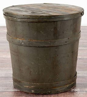 Painted pine firkin, 19th c., retaining an old green surface, 12 1/4'' h.