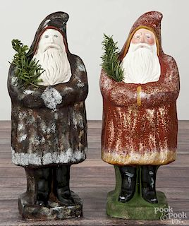 Two large contemporary chalkware belsnickle Santa Claus figures, signed C. Co. '86, 15'' h.