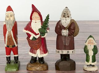 Daniel Strawser, carved Santa Claus, initialed and dated '87, 9 3/4'' h.