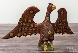 Daniel Strawser, large carved and painted eagle, initialed and dated '87, 12 1/2'' h., 22'' w.