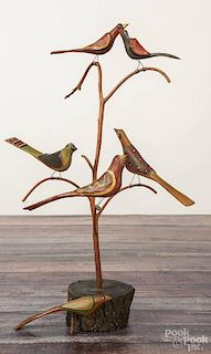 Daniel Strawser, carved and painted bird tree, initialed and dated '84, 18'' h.