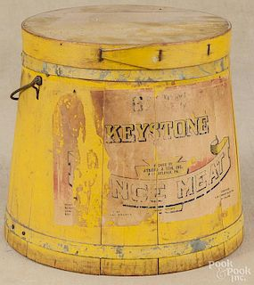 Painted Keystone Mince Meat bucket, 19th c., retaining on old mustard surface, 10 1/4'' h.