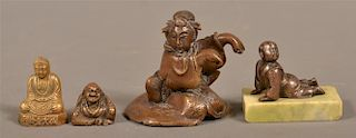 Four Vintage Bronze or Brass Small Oriental figures.
