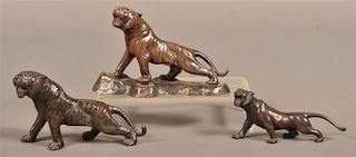 Three Vintage Metal Tiger Sculptures.