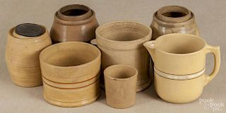 Seven pieces of yelloware, 19th c., to include a pitcher, three canning jars, two canisters