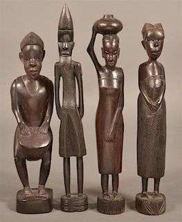 4 Vintage African Carved Ebony Wood Figures.