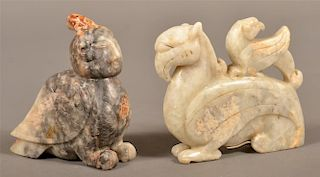 Two Vintage Chinese Carved Jade Figures.