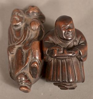 2  Carved Wood Chinese Figural Netsukes.