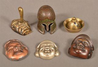 6 Various Metal Miniature Masks and Helmets.