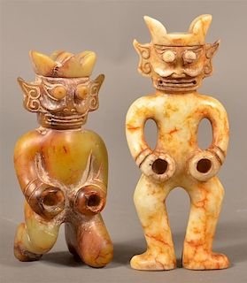 Two Chinese Carved Jade Mythical Figures.