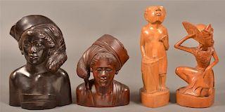 4 Vintage Figural Wood Carvings From Bali.