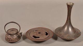 3 Pieces of Japanese Utilitarian Metalwares.