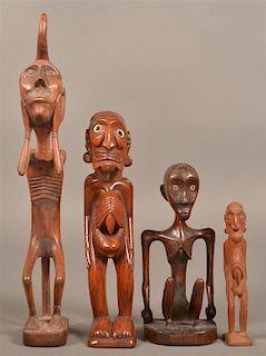 4 Indonesian Carved Hunger Fetish Figures.