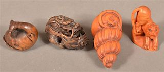 Four Animal Form Finley Carved Wood Netsukes.