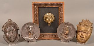 5 Cast Metal Masks and Plaques.