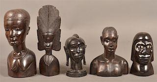 5 Vintage African Ebony Figural Wood Carvings.