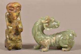 Two Vintage Carved Jade Figures.