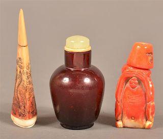 Three Chinese Vintage Snuff Bottles.