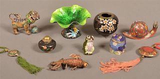 Ten Pieces of Various Enamel and Cloisonné.