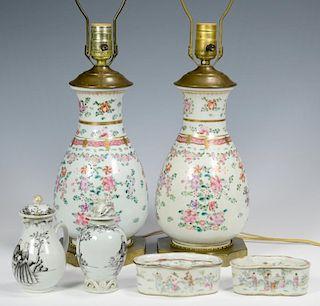 6 Pcs of Asian Porcelain, incl. Grisaille