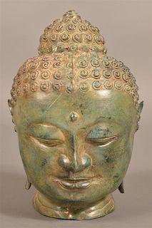 Sheet Bronze Indian Deity Head Sculpture.