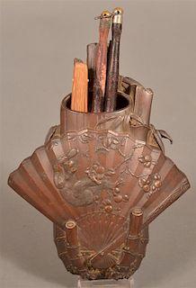 Japanese Bronze finished Metal Wall Pocket.
