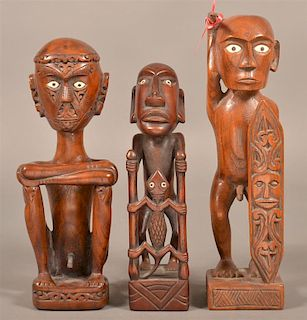 Three Indonesian Carved Protector Figures.