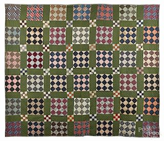 Pennsylvania nine-patch quilt, late 19th c.
