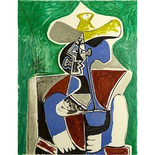 """after: Pablo Picasso, Spanish (1881-1973) Marina Picasso Estate Lithograph """"Buste Au Chapeau Juane Et Gris Sur Fond Verte"""""""
