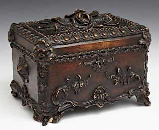 French Carved Beech Dresser Box, 20th c., with rel