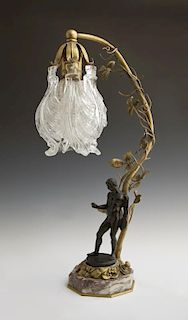 Patinated and Gilt Bronze Figural Lamp, early 20th