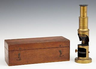 Diminutive Brass Monocular Field Microscope, early