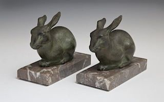 Marti Font (French), Pair of Patinated Spelter Rab