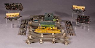 Nineteen Piece French Tin Toy Train Set, 20th c.,