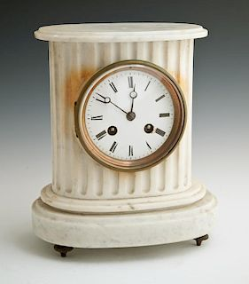 French White Marble Mantel Clock, 19th c., of oval