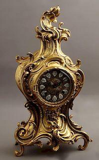 German Gilt Spelter Louis XV Style Mantel Clock, 2