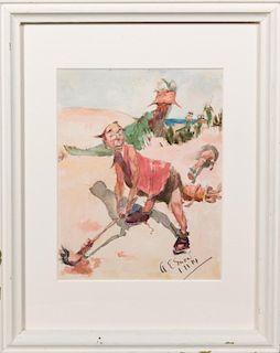 "A.E. Snow, ""Golfers on the Beach,"" 1914, watercolo"