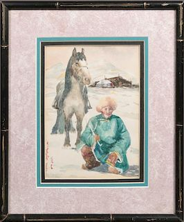 """Russian School, """"Mongolian with Horse,"""" 20th c., w"""