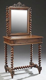 French Louis XIII Style Carved Walnut Dressing Tab