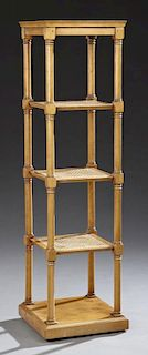 Mahogany Five Tier Shelf, early 20th c., with a di